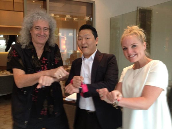 Psy and Brian May meet up for lunch in London