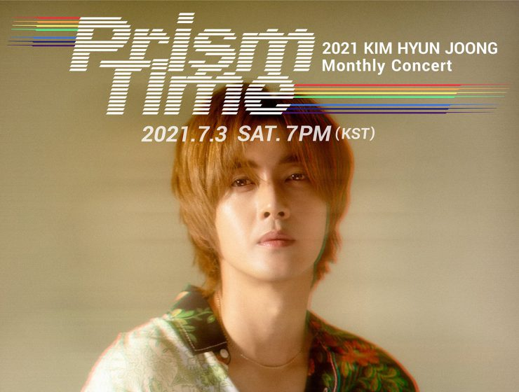 Kim Hyun Joong event poster for 2021 Kim Hyun Joong Monthly Concert Prism Time - Yellow taking palce on Saturday, July 3 at 7PM Korean Standard Time.