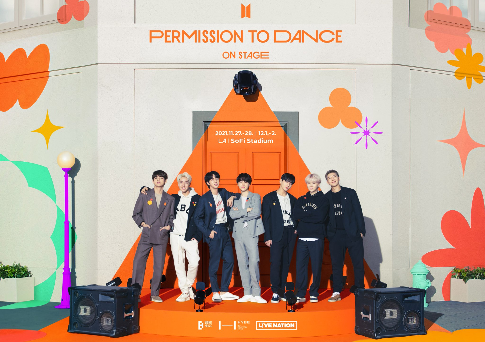 Concert poster for BTS Permission to Dance On Stage LA